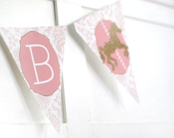 Printable pink and gold carousel banner  -  First birthday - Girls birthday - Customizable