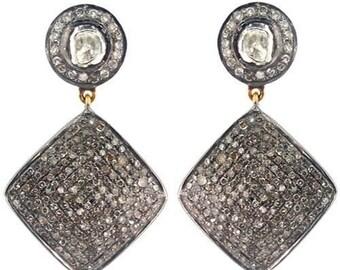 Victorian 7.45ct Rose/Polki Cut Diamond Earrings,Free Shipping Worldwide
