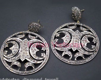 Victorian 4.80ct Rose Cut Diamond Earrings, Free Shipping Worldwide