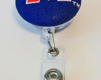 Fun Blue and Red Ole Miss Mississippi Inspired Fabric Button Retractable Badge Reel Clip