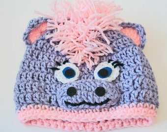Adorable Lavender and Pink Horse Pony Hand Crocheted Baby and Childrens Hat Great Photo Prop 5 Sizes Available