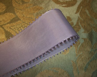 """2 yards-Vintage Lavender Taffeta Picot Ribbon-Looped Edge- 1.75"""" Made in Switzerland - Millinery Quality"""