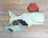 Amandine Mama and baby Blue wood whales by Kimberly Hodges, wood whale art, wall sculpture art, whale sign, nursery art, coastal decor,