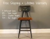 Barstool, Industrial Stool, Bar Stool, Shop Stool, Metal Stool, Reclaimed Wood Stool, , Reclaimed