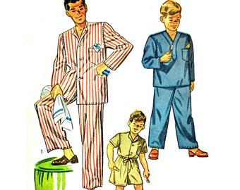 Vintage 50s Boys Pajamas Pattern Little Boys PJ Pattern Drawstring Pajama Pants Shorts Sleep Shirt Pattern Simplicity 2548 UNCUT Boys Size 4