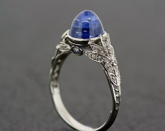 Art Deco Sapphire Ring - Antique 1920s Engagement Ring Sapphire & Diamond Art Deco in Platinum