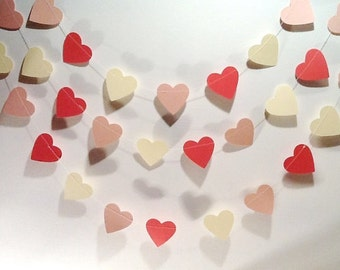 Paper Heart Garland, Peach, Apricot and Ivory. Wedding/Engagement.