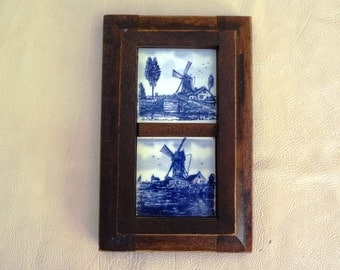 Vintage Blue and White Windmill Scenes on Tiles in Wooden Frame