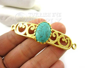 Turquoise Stone Curved Bar Bracelet Focal Connector, Oriental Fretworked Matte 22K Gold Plated Turkish Jewelry