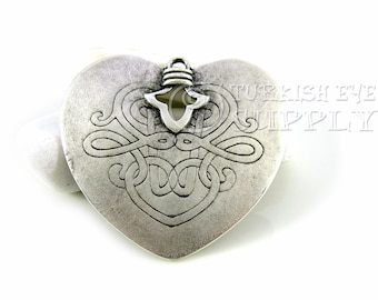Large Silver Heart Pendant,  Antique Silver Plated Large Heart, Turkish Jewelry