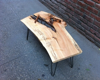 SOLD - One-of-a-Kind, Maple Live Edge Wood Coffee Table