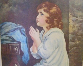 Christian Art Vintage 1939 Lithograph Child Praying Samuel Hearing God's Voice Religious Print Christian
