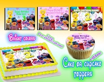 Sesame Street personalized edible cake or cupcake toppers Birthday - Sugar icing frosting sheet picture photo decal transfer sticker