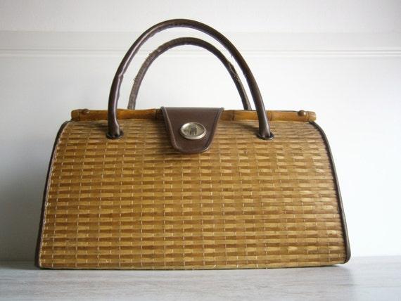 Vintage sac à main femme osier tressésac plage sac retro