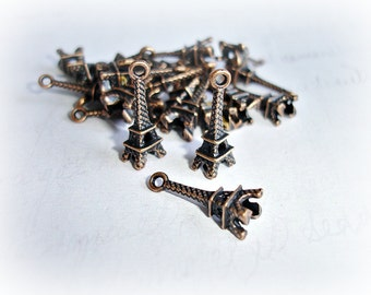 3 Antique Copper Eiffel Tower Charms