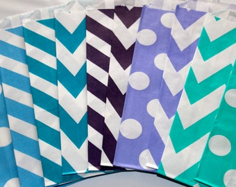Mermaid under the sea purple teal chevron polka dot striped stripes paper goodie favor bags candy buffet birthday party bridal baby shower