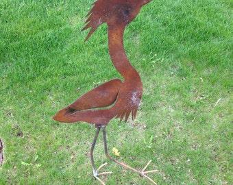 Blue Heron with feet Metal Yard Art