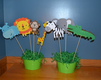 Jungle Centerpiece Set - Jungle Birthday Party - Jungle Party - Set of 3 or 7 - Jungle Animals