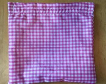 Reusable sandwich bag pink and white checkered print, reusable snack bag, eco-friendly sandwich bag, sandwich bag, snack bag, makeup bag