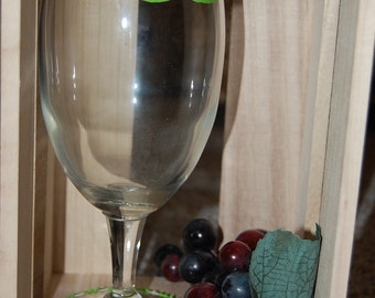 Green Mustache Hand Painted Wine Glass