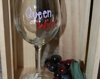 Queen of Wine Hand Painted Wine Glass