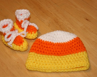 Candy Corn Hat and Booties Set Newborn 0 - 3 months