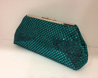 Emerald Green Disco Ball Sequin Clutch Purse with Nickel/Silver Finish Snap Close Frame