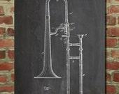 Slide Trombone Patent Poster, Music Room Decor, Band Director, Trombone Art, PP261