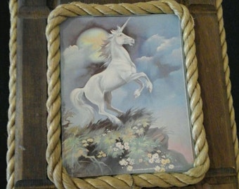 Sale Was  14.88 Now 12.00 Unicorn in the Moonlight Wall Hanging Signed Hyat