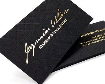 Black Business Cards 100 700gsm 1 Foil color with Blind
