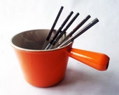 Le Creuset Fondue Pan , Orange Retro/ French decor/ French kitchen/ French country home/ Rustic