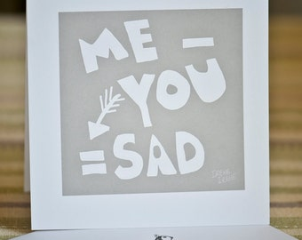 Miss you card,  boyfriend card, girlfriend card, love card, card for him, card for her, simple words,missing you card, blank card