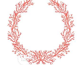 Coral Frame - Original art download, salmon coral wreath, coral frame, preppy frame, preppy theme, preppy coral