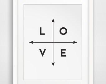 Black and White Prints, Love Print, Black and White Print, Love Prints, Black Wall Art, Black Wall Print, Black Wall Prints, Arrow Wall Art