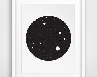 Constellation Print, Constellation Wall Art, Black Sky Print, Black Stars Wall Print, Constellation Wall Prints, Black and White Geometric