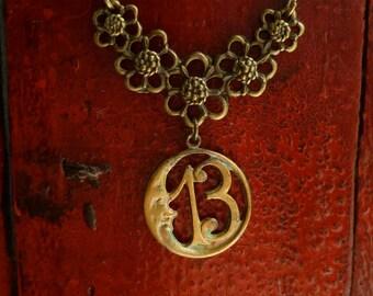 Lucky 13, Moon Necklace, Antiqued Brass (Bronze), Number Thirteen, Good Luck, Bohemian Jewelry, Thirteen Necklace, 13 Necklace, 13 Jewelry