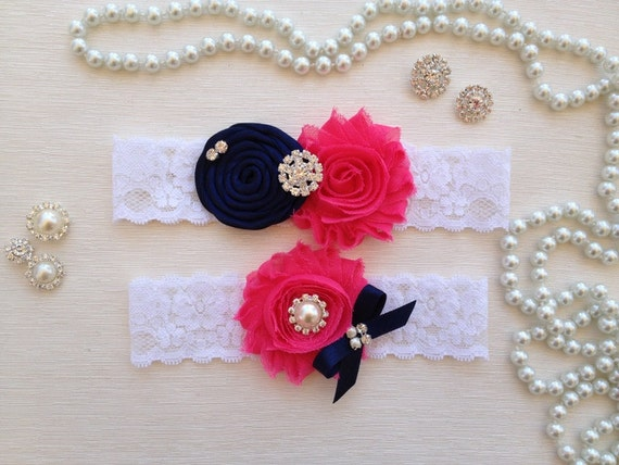wedding garter set, ivory bridal garter set, navy blue rolled rossette and bow, hot pink chiffon flower, pearl/rhinestone