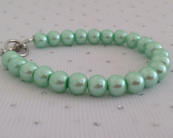 Seafoam Green Pearl Bracelet, Bridesmaid Jewelry, Seafoam Green Wedding, Mint Green Jewelry, Mint Green Wedding