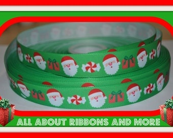 7/8 Inch Green Christmas Santa with Presents Grosgrain Ribbon