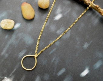 A-175 Open drop necklace, Raindrop, Gold filled, Gold plated