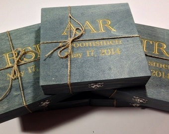 Groomsmen Gift - 5 Rustic Cigar Boxes With Laser Engraved Names - Personalized - FREE SHIPPING - Felt Lined Bottom
