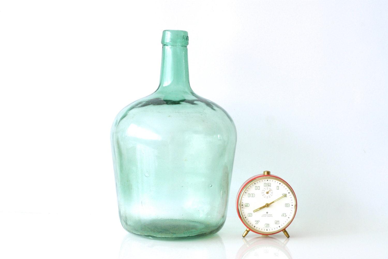 Green glass bottle demijohn antique wine bottle by for Green glass wine bottles