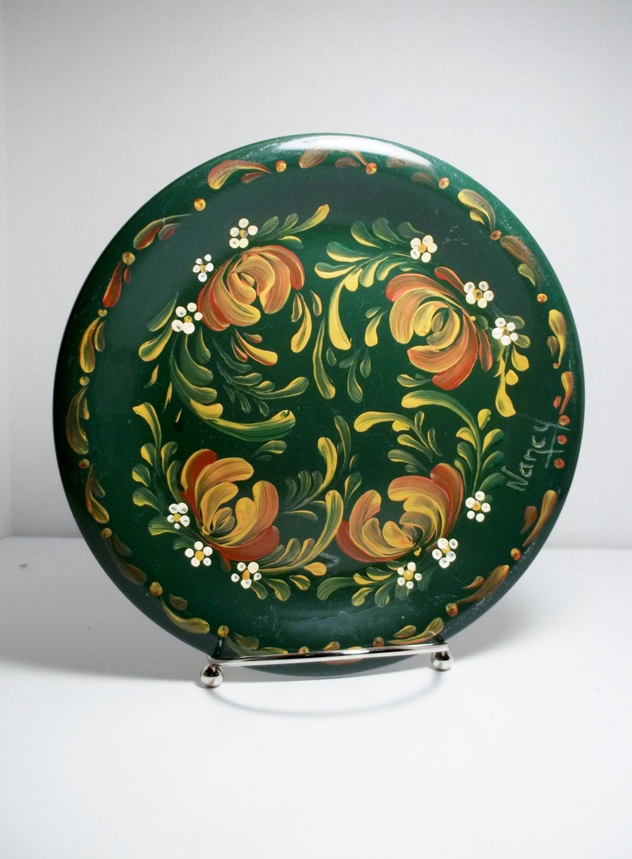 Ceramic Plate Green Plate Hand Painted Scandinavian Design