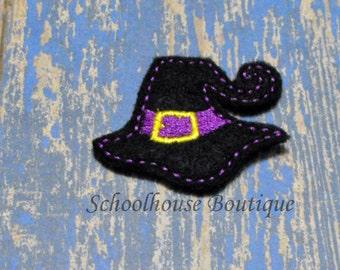Black and Lavender Witch Hat felties, Halloween feltie, machine embroidered, felt applique, felt embellishment, hairbow center