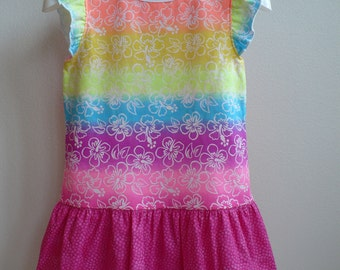Toddler Girl T-Shirt Dress-Colorful/Tropical Flowers
