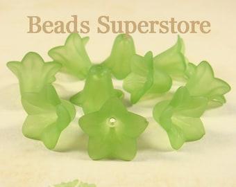 18 mm x 12 mm Green Lucite Flower Bead - 10 pcs