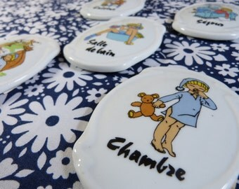 Set of 5 quirky kids ceramic door signs plaques - French 70s 80s vintage