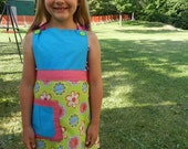 Child Apron: Blue & Green w/ Flower Pattern