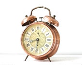 RETRO. Large French vintage pure copper clock JAZ. Mid Century. French clock. Vintage clock 50's. Vintage pendulum. Vintage alarm clock.