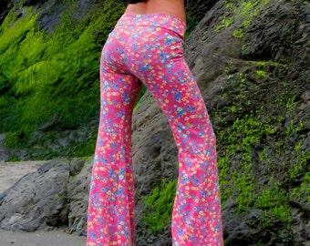 FALL FASHION FLORAL print bell bottom boho dance beach resort yoga festival gypsy flare pants